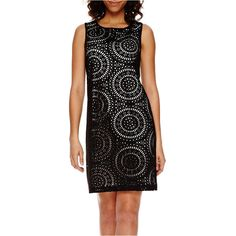 Worthington Sleeveless Laser-Cutout Shift Dress ($40) ❤ liked on Polyvore featuring dresses, zipper dress, worthington, worthington dresses, open back dress and no sleeve dress