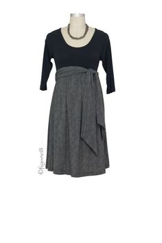 MA Scoop Neck Front Tie Maternity Dress in Black/Dark Grey Herringbone by Maternal America with free shipping