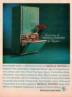 Ad for a 1964 Frigidaire Magazine Paper Print Ad Turquoise Refrigerator Imperial Nineteen Model - Avid Vintage. Perfect Inspiration for that Vintage Home