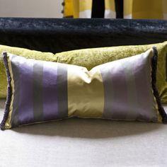 Trevelyan Heather Cushion - Satin Silk Stripe   Designers Guild UK