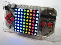 Led matrix game development kit meggy jr rgb is a handheld platform for dev Evil Mad Scientist, Open Source Hardware, Gamer Room, Diy Games, World Domination, Electronic Art, Electronics Projects, Science Projects