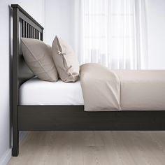 Check out HEMNES Bed frame, black-brown, King. Sustainable beauty from sustainably-sourced solid wood, a durable and renewable material that maintains its genuine character with each passing year. Combines with the other furniture in the HEMNES series. Hemnes Bed, Malm Bed Frame, Bed Frames, Ikea Family, Bed Slats, Bed Base, Under Bed Storage, Adjustable Beds, King Beds