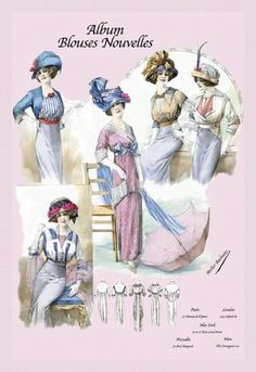Album Blouses Nouvelles: Daytime Fashions 12x18 Giclee on canvas