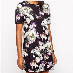 Asos Black Floral Print Dress