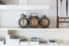 These three vintage clocks, from the Feira, remind Antje of each of her three children: big boy, girl and small boy