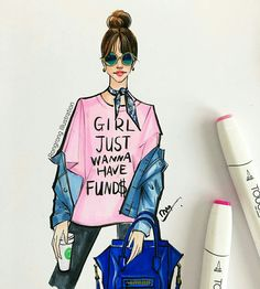 Hello, it is a casual pink Wednesday! #pink #graphictee #teeshirt #streetstyle #art #sketch #copic #marker #rongrongdevoe #fashionillustration #fashionillustrator #starbucks #coffeelover #celine