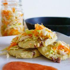 MY NEW OBSESSION: Pupusas with Curtido & Salsa Roja. A Salvadorian dish. My fave, MMMMMMz