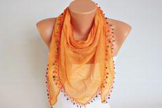 Oya scarfv with colorful wooden beads turkish oya by SenasShop, $16.90