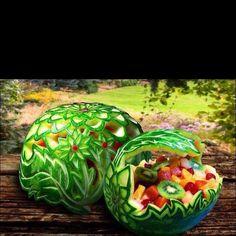 Amazing food art ... #food_art #food art. Watermelon fruit bowl.