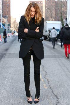 Erin Wasson in Balmain Suede Zip Skinny Jeans in Black