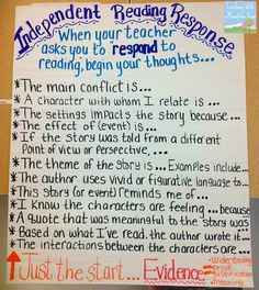 Independent Reading Response Anchor Charts. I like this one better than the other on the site. Has kids give evidence as well.