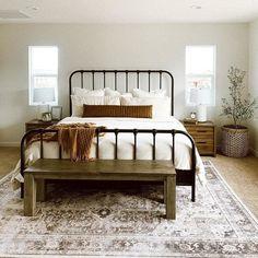 Bedding Master Bedroom, Guest Bedrooms, Home Decor Bedroom, Cabin Bedrooms, Bedroom Ideas, Guest Room, Black Metal Bed Frame, Black Bed Frames, Metal Bed Frames