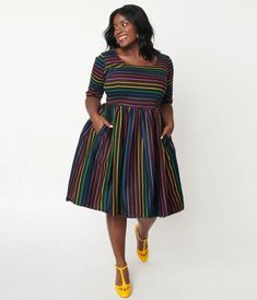 Collectif Plus Size Black & Rainbow Stripe Amber Lea Swing Dress Cocktail Attire, Vintage Closet, Swing Skirt, Trendy Clothes For Women, Modern Outfits, Vintage Inspired, Amber, Vintage Fashion, Short Sleeve Dresses