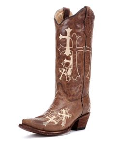 Corral Circle G Women's Beige Side Cross Cowgirl Boot  http://www.countryoutfitter.com/products/50818-womens-beige-side-cross-boot