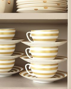 Tip of the Day: Alternate cups and saucers when stacking them in the cupboard. Delicate cups won't fall over when set on top of a saucer and you'll gain more space in your cupboards by stacking.