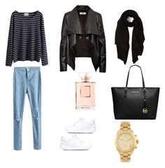 A fashion look from November 2015 featuring navy long sleeve shirt, waterfall leather jackets and highwaist jeans. Browse and shop related looks. Michael Kors, Shoe Bag, Nike, Polyvore, Stuff To Buy, Outfits, Shopping, Collection, Shoes