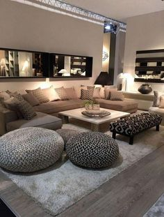 beige walls, large beige sofa with shades of beige throw pillows, wooden floor with grey carpet, large mirror, small living room decorating ideas Elegant Living Room, Cozy Living Rooms, Apartment Living, Living Room Furniture, Home Furniture, Living Room Decor, Cozy Apartment, Rustic Furniture, Modern Furniture