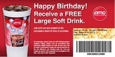 Free soft drink at amc movie theaters on freestuffjilly com