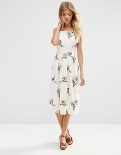 Image 1 of ASOS High Neck Occasion Midi Dress in Pretty Floral Print