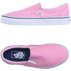 Vans Sneakers ($60) ❤ liked on Polyvore featuring shoes, sneakers, pink, slipon shoes, pink sneakers, vans shoes, slip on shoes and round toe flat shoes