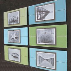 Set of Six Plank Frames with Shades of Aqua and by ProjectCottage, $162.00