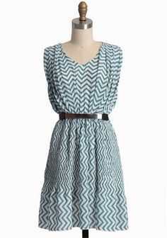 Belted Beauty Chevron Dress | Modern Vintage Dresses