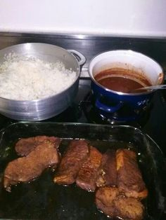 White Rice , Beans && Pork Chops