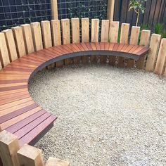Contemporary garden seating area landscape design 58 Ideas for 2019 Back Gardens, Outdoor Gardens, Small Gardens, Contemporary Garden Furniture, Contemporary Gardens, Curved Bench, Fire Pit Seating, Fire Pit Backyard, Backyard Ponds