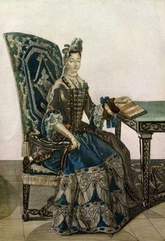 Madame Francoise d'Aubigne Marquise de MAINTENON, 1635-1719 2nd wife of King Louis XIV of France, reading, 17th century engraving  - stock photo