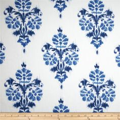 Duralee Manon Damask Twill Blue from @fabricdotcom  Screen printed on cotton duck; this versatile medium weight fabric is perfect for window accents (draperies, valances, curtains and swags), accent pillows, duvet covers and upholstery. Create handbags, tote bags, aprons and more. Colors include blue and white.