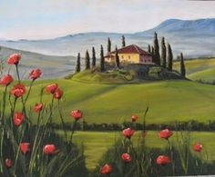 Contemporary Art by Janet Schulz includes Tuscany with Poppies, an outstanding example of the artwork that is available from our Online Gallery. See other Paintings by Janet Schulz in our Contemporary Art Gallery. Watercolor Landscape, Landscape Art, Landscape Paintings, Watercolor Art, Water Paint Art, Tuscan Art, Tuscany Landscape, Provence, Acrylic Art