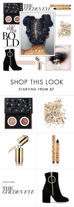 """""""Bold Glitter Hair"""" by emmablue325 ❤ liked on Polyvore featuring beauty, ColourPop, Topshop, La Prairie, Yves Saint Laurent, Off-White, Capelli New York, hairtrend, metallic and glitterhair"""