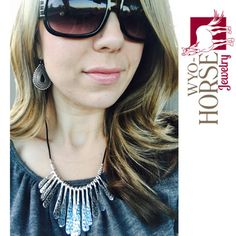 Wyo-Horse Jewelry - Zia Sun Necklace and Silver Boho Earrings - Modeled by the beautiful Alea!