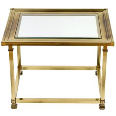 40s French Brass And Black Glass End Table Att To Maison Jansen In