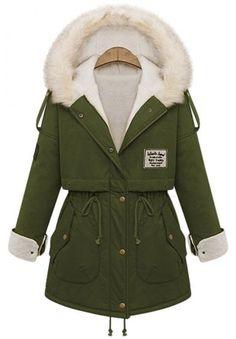 Green Fur Hooded Zipper Embellished Fleece Inside Military Coat one size Green Fur, Venus Swimwear, Cute Coats, Mode Style, Winter Wear, Sweater Jacket, Sweater Weather, Winter Outfits, Winter Fashion