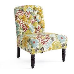 Love the fabric and legs on this chair. $169.99 on Pier One.