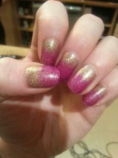 Hot Pink/Gold Rockstar Nails