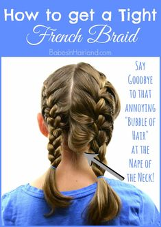 How to get a Tight French Braid If you struggle with getting a tight or tidy French braid, come watch our video. We're sharing a few pointers to help you improve your French braiding skills and achieve a nice tight French braid! Braiding Your Own Hair, Your Hair, How To Braid Hair, How To Braid Your Own Hair Short, Tight Braids, Kid Braids, Braids Easy, Braids For Girls Hair, Short Hair Braids Tutorial