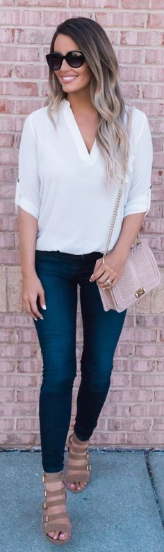 stylish spring outfits /  White V-neck Blouse / Navy Skinny Jeans / Brown Sandals