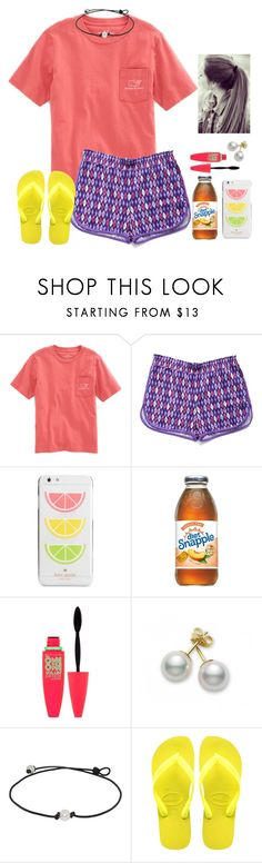 """just relaxin'🌴🔆"" by smaryb ❤ liked on Polyvore featuring Vineyard Vines, Vera Bradley, Kate Spade, Maybelline, Mikimoto and Havaianas"