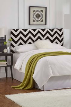 Zigzag Upholstered Headboard - Black/White on HauteLook