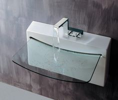 Modern Bathroom Sink Design Supported with Stylish Faucet Pictures Glass Bathroom Sink, Bathroom Sink Design, Small Bathroom Sinks, Glass Sink, Smallest Bathroom, Glass Bowls, Bathroom Fixtures, Bathroom Vanities, Bathroom Designs