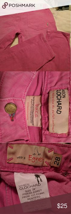 Made in Italy skinny jeans Pink colored denim jeans by Italian brand Maison Clochard. These were made in Italy and are so freaking soft! Worn very gently. The pockets have some distressing but they came like that. There are also faded around the knees. There are a couple unique metal stud details on the pockets. ❤❤Size 28 and they run small. I am a 27 but sometimes take a 28 if they run small and I needed the 28 in these❤❤ Open to offers, especially involving bundles! I have a ton of nice $4…