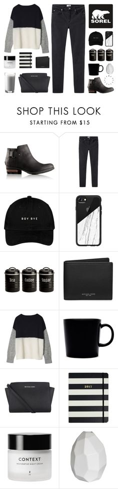 """Kick Up the Leaves (Stylishly) With SOREL: CONTEST ENTRY"" by hey-its-lexiib ❤ liked on Polyvore featuring SOREL, Acne Studios, Casetify, Typhoon, Michael Kors, iittala, MICHAEL Michael Kors, Kate Spade, Paul Frank and CB2"