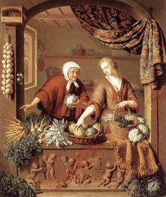 Willem Van Mieris (1662-1747) The Greengrocer The younger lady is out buying groceries without a head covering?