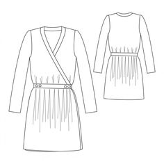 The Madeleine Dress sewing pattern from Republique du Chiffon. It has a wrap style bodice with gathered skirt and long sleeves. Kaftan Pattern, Simple Dress Pattern, Make Your Own Clothes, Couture Sewing, Dress Images, Simple Dresses, Easy Dress, Wrap Dresses, Dress Sewing Patterns
