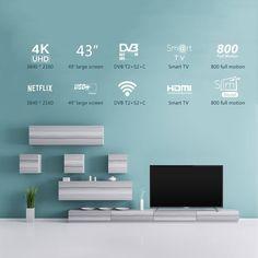 "Haier U43H7000 Series 43"" Smart UHD HDR LED TV 4K Ultra HD Smart TV Wi-Fi Black Sales Online j0691-1 - Tomtop Dvb T2, Smart Tv, Hdr, Wi Fi, Corner, Technology, Black, Tech, Black People"