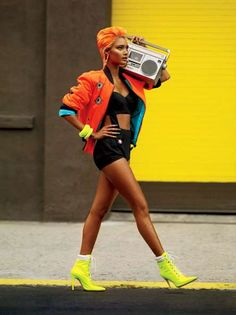 The posing ** Street Swagger Shoots - The V Magazine Queen of Hip-Hop Editorial is Electric-Hued Hip Hop Fashion, Fashion Shoot, Urban Fashion, 90s Fashion, Editorial Fashion, Trendy Fashion, High Fashion, Fashion Trends, Fashion Women