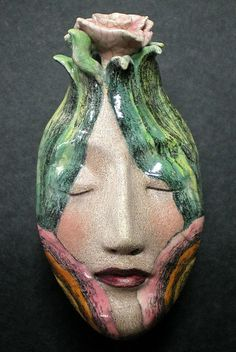 """The Dreamer"" Ceramic Mask by Peggy Bjerkan"