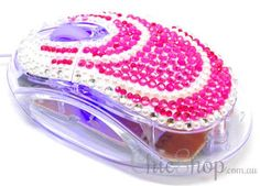 Pink/White Crystal USB Optical Computer Mouse for any Notebook, Laptop or Desktop PC. Decorated in Rhinestone. All You Need Is, Wireless Computer Mouse, Mail Art Envelopes, Red Led Lights, Pc Mouse, Notebook Laptop, Pretty Cool, Pink White, Usb